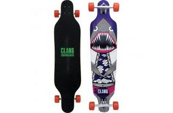 Clans Beginner Longboard Flying Dinoshark Purple 40.0 x 9.5 inch